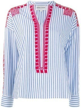 Antik Batik embroidered stripe shirt - Blue