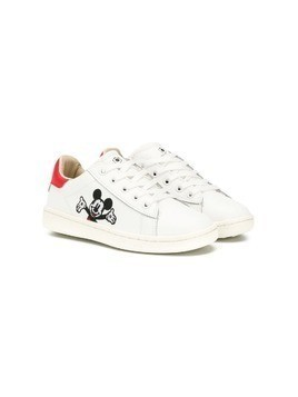 Moa Kids embroidered Mickey Mouse sneakers - White