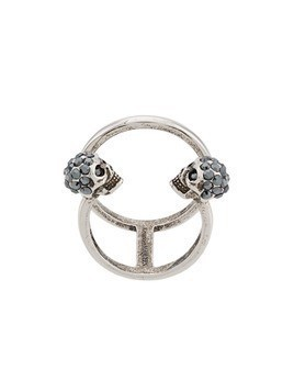 Alexander McQueen Twin Skull Double ring - Metallic