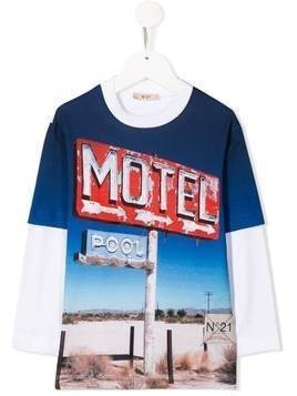 Nº21 Kids graphic print T-shirt - Blue