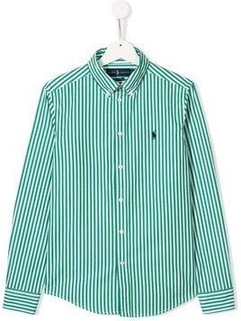 Ralph Lauren Kids TEEN striped button-down shirt - Green