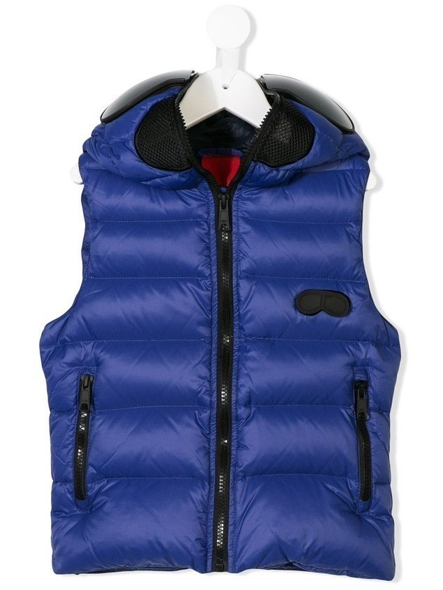 Ai Riders On The Storm Kids hooded padded gilet - Blue