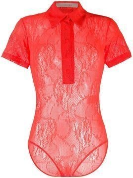 Ssheena lace-pattern short-sleeved bodysuit - ORANGE