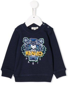 Kenzo Kids logo embroidery sweatshirt - Blue