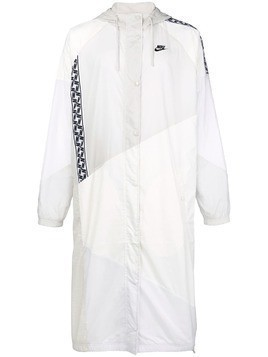 Nike taped woven long coat - White