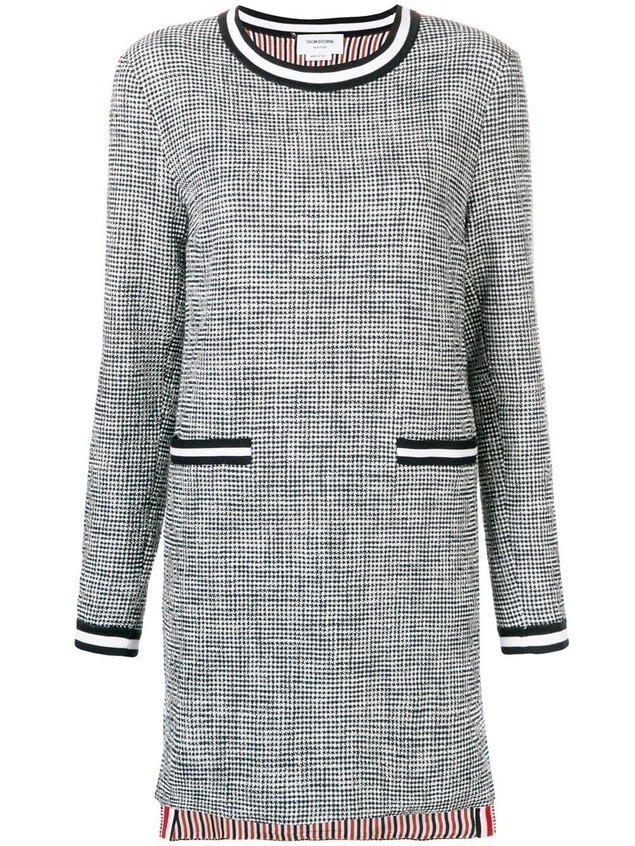Thom Browne Textured Tweed Shift Dress - Blue