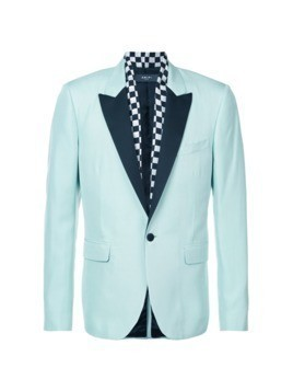 Amiri contrast lapel fitted blazer - Blue