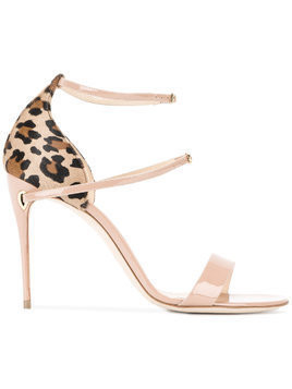 Jennifer Chamandi Nude Leopard Rolando 105 Sandals - Brown
