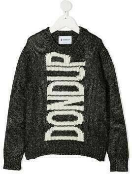 Dondup Kids long-sleeved knitted logo jumper - Black