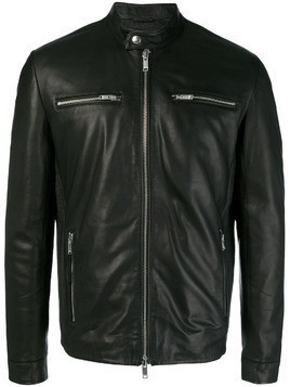 Dondup zip detail leather jacket - Black