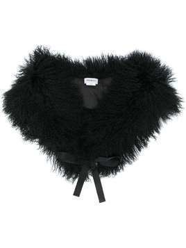 P.A.R.O.S.H. shearling ribbon tie shawl - Black