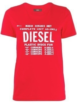 Diesel faded logo print T-shirt - Red