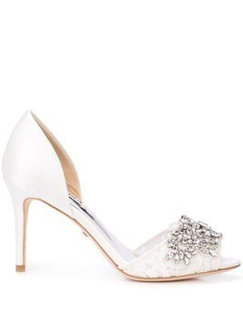 Badgley Mischka crystal embellished pumps - White