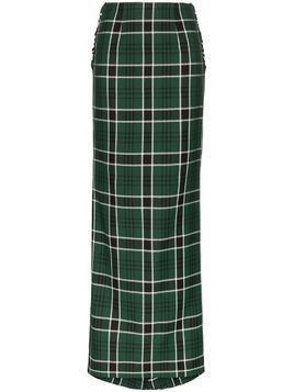 Rosie Assoulin bow-embellished checked maxi skirt - Green