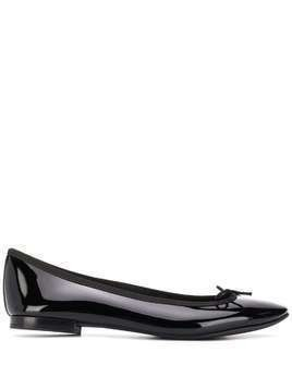 REPETTO bow detail patent ballerina shoes - Black