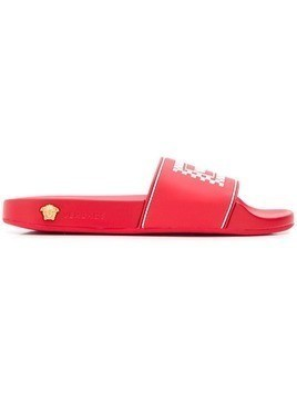 Versace logo print slides - Red