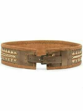 Mes Demoiselles embroidered leather belt - Brown