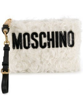 Moschino textured clutch bag - White