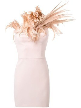 Isabel Sanchis feather neckline dress - Pink