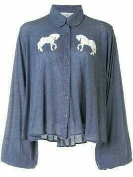Wildfox horse-print blouse - Blue