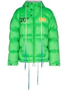 Off-White hooded padded jacket - Green
