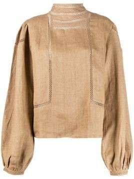 Mes Demoiselles embroidered long-sleeve blouse - NEUTRALS