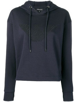 Emporio Armani logo embroidered hoodie - Blue