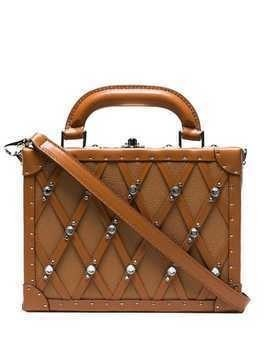 AREA Dion studded box bag - Brown