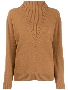 Pringle of Scotland ribbed detail turtleneck sweater - Brown