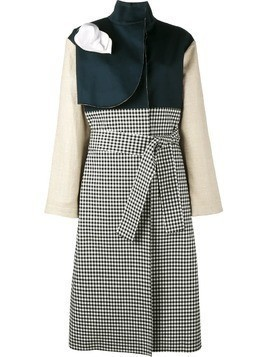 A.W.A.K.E. gingham and denim trench coat - Blue