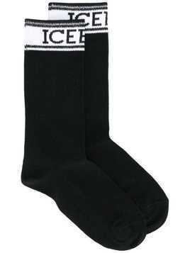 Iceberg logo stripe socks - Black
