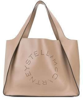 Stella McCartney perforated logo tote bag - Grey