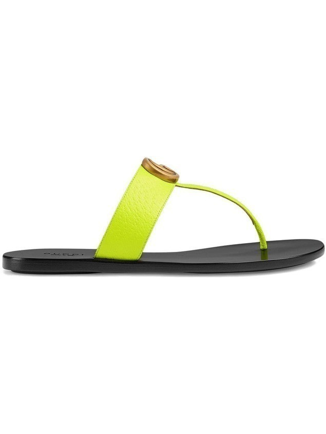 Gucci Leather thong sandal with Double G - Yellow