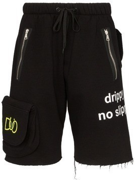 Duo multi-pocket track shorts - Black