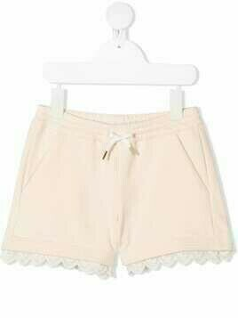 Chloé Kids embroidered trim shorts - Neutrals