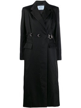 Prada belt loop clip belted coat - Black