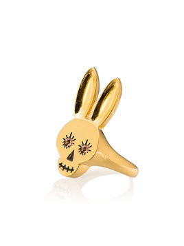 Maria Nilsdotter gold plated silver Rabbit skull ring with pink sapphires - Metallic