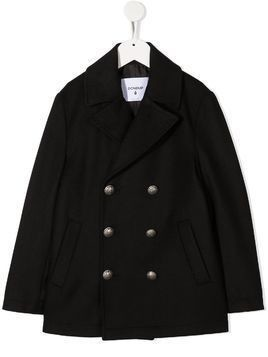 Dondup Kids notch lapels double-breasted coat - Black