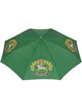 Burberry Crest Print Folding Umbrella - Green