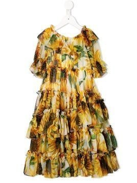 Dolce & Gabbana Kids sunflower-print ruffled long dress - Yellow