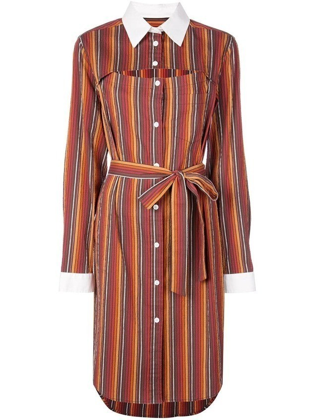 Rosie Assoulin striped shirt dress - ORANGE