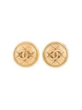 Chanel Vintage CC Logos Button Earrings - Gold