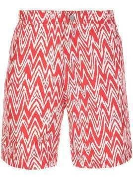 Onia zigzag print swim shorts - Red