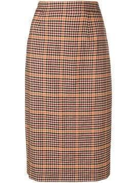 P.A.R.O.S.H. checked pencil skirt - Brown