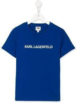 Karl Lagerfeld Kids signature crew neck T-shirt - Blue