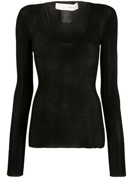 Isabel Benenato irregular ribbed jumper - Black