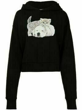 Ashley Williams Track cat-print relaxed hoodie - Black