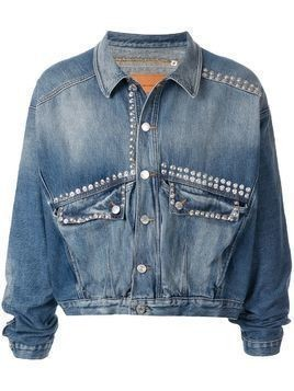 Martine Rose stud-embellished cropped denim jacket - Blue