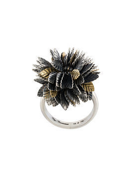 Ugo Cacciatori 3D leaf detail ring - Metallic