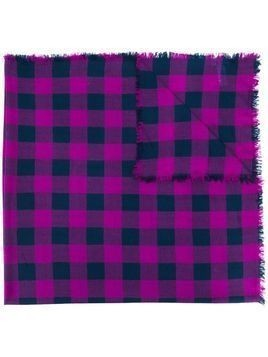 Paul Smith check patterned scarf - PURPLE
